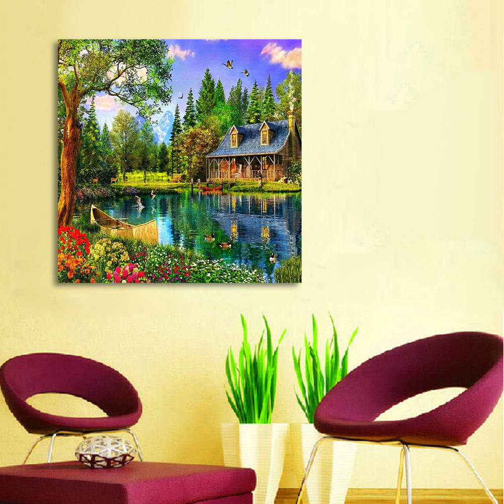 Aliexpress.com : Buy Lakeside Cabin DIY Diamond Painting Embroidery ...