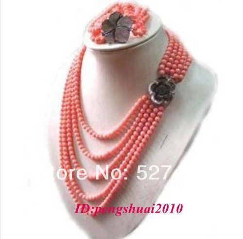 Frete grátis por atacado > > cinco linhas rosa Coral Side Shell flor fecho Set jóias colar pulseira mulheres