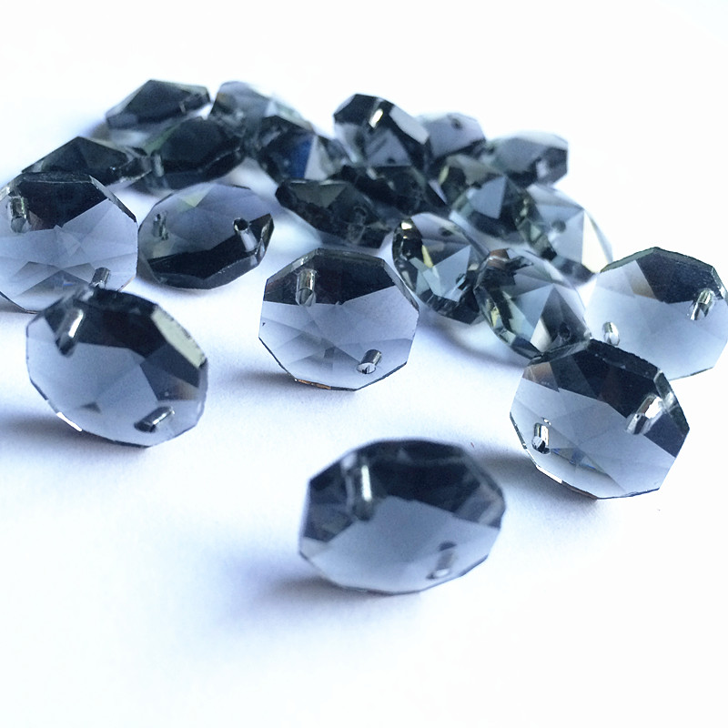 Top Quality 100pcs Smoke Grey 14mm Glass Octagon Chandelier Parts In Two Holes (Free Rings) Diy Crystal Strand Garland Beads