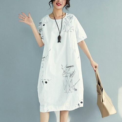 F&JE 2018 Summer Fashion Arts Style Women short sleeve Loose Casual Dresses O-neck cotton linen Knee-length Dress Big Size U13