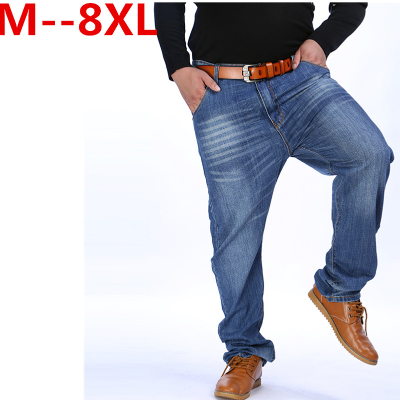9XL 8XL 6XL 5X Men Classic Whiskering Jeans Fashion Casual Jeans Pants Straight Denim Jeans Masculina Male Denim Trousers Cotton