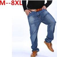 9XL 8XL 6XL 5X Men Classic Whiskering Jeans Fashion Casual Jeans Pants Straight Denim Jeans Masculina Male Denim Trousers Cotton