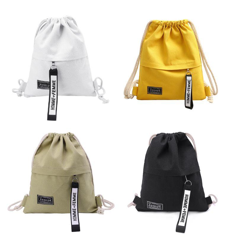 Fashion New Men Women Cinch Sack Canvas Storage Backpack Unisex Casual School Gym Drawstring Shoulder Bag Pack Rucksack Pouch