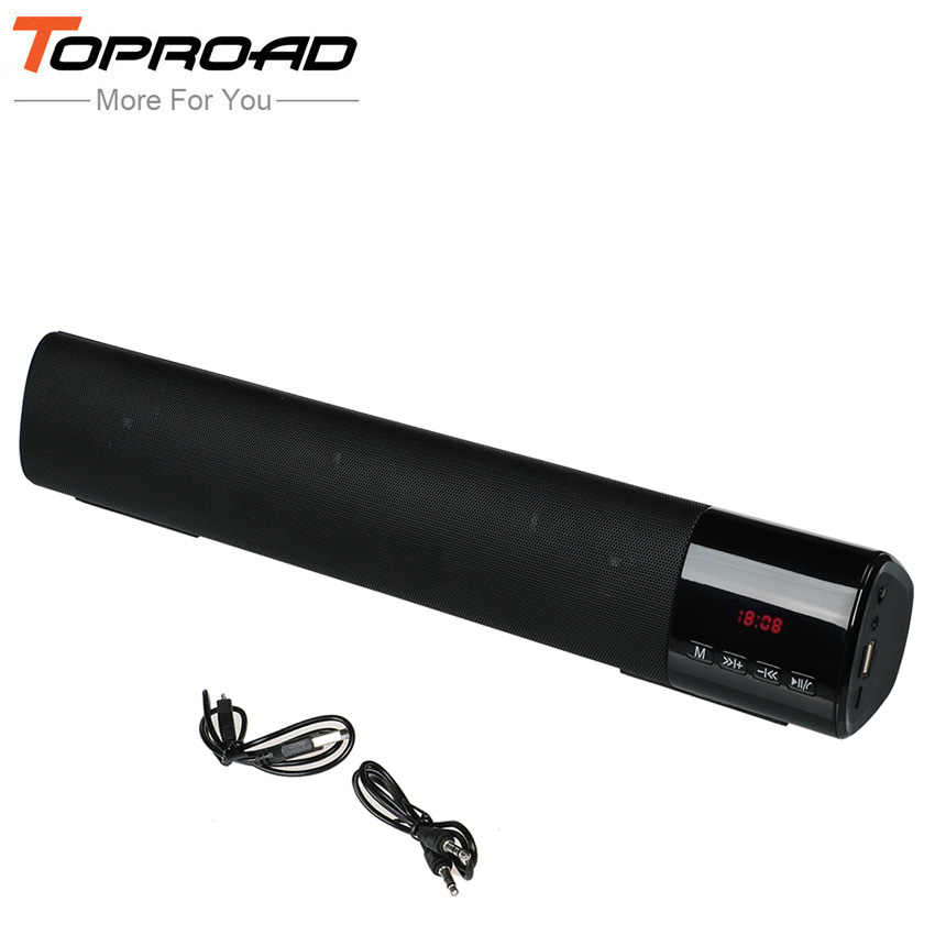 TOPROAD 10 W Wireless Subwoofer Speaker Bluetooth Soundbar Ricevitore Stereo Super Bass Altoparlanti Altavoz Suport TF di FM USB per la TV
