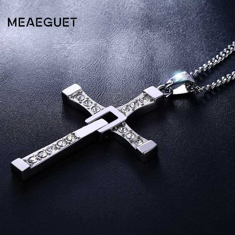 Meaeguet Stainless Steel Cross Necklaces Pendants Fashion Movie jewelry The Fast and The Furious Toretto Men CZ Necklace