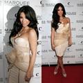 Sexy Kim Kardashian Dress 2016 Champagne Short Mermaid Tight Strapless Red Carpet cocktail Dress Women Cocktail Dresses