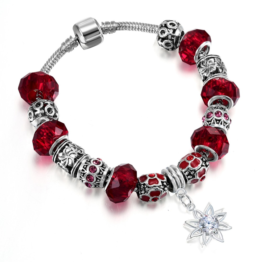 QIAMNI-DIY-Jewelry-Charm-Gift-Red-Murano-Glass-Beads-Sun-Flower-Pendant-Dangle-Bracelets-Bangles-Fit