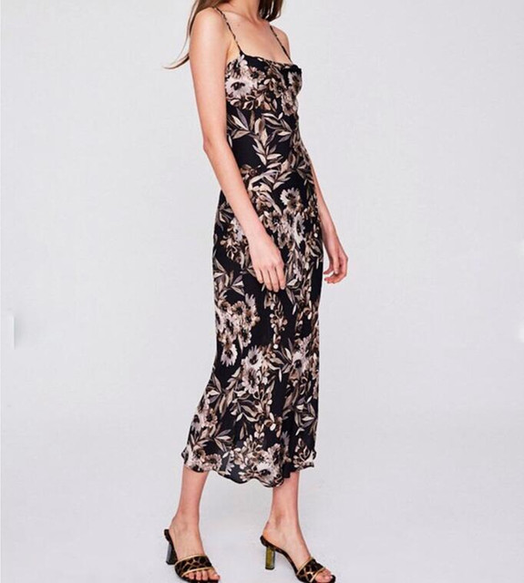 311efd9a5b62 100% Silk Women Sleeveless Floral Print Cowl Neck Low Backless Sexy Black  Temptation Gown Mid