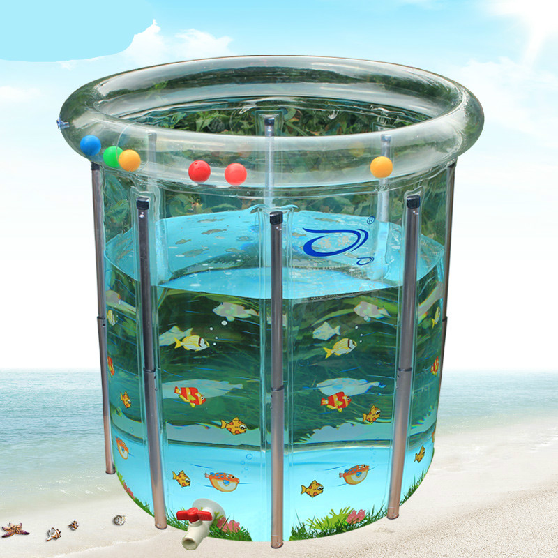 Transparent Large Baby Swimming Pool Inflatable Water Playing Pool Child Kids Play Game Pool Baby Bath Tub Adjustable Height C01 portable transparent large baby infant swimming pool pvc inflatable pool child toddler water playing game pool baby bath pool