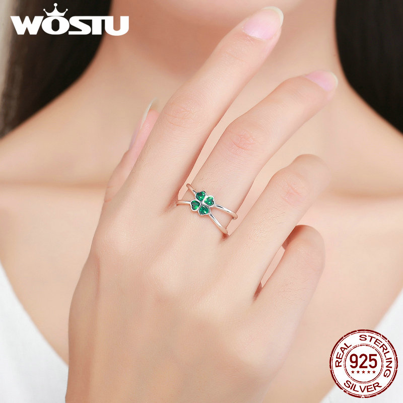 WOSTU Hot Sale 100% 925 Sterling Silver Lucky Green Clover Flower Finger Ring for Women Party Engagement Jewelry FIR196
