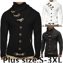 zogaa New Style Croissant Button Fashionable Leisure High Collar Mens Twisted Pattern Knitted Cardigan