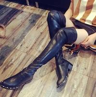 Cheap Price High Quality Black Suede Leather Gold Studded Over The Knee Boots Women Flat Elastic Tight High Boots Size 35-40