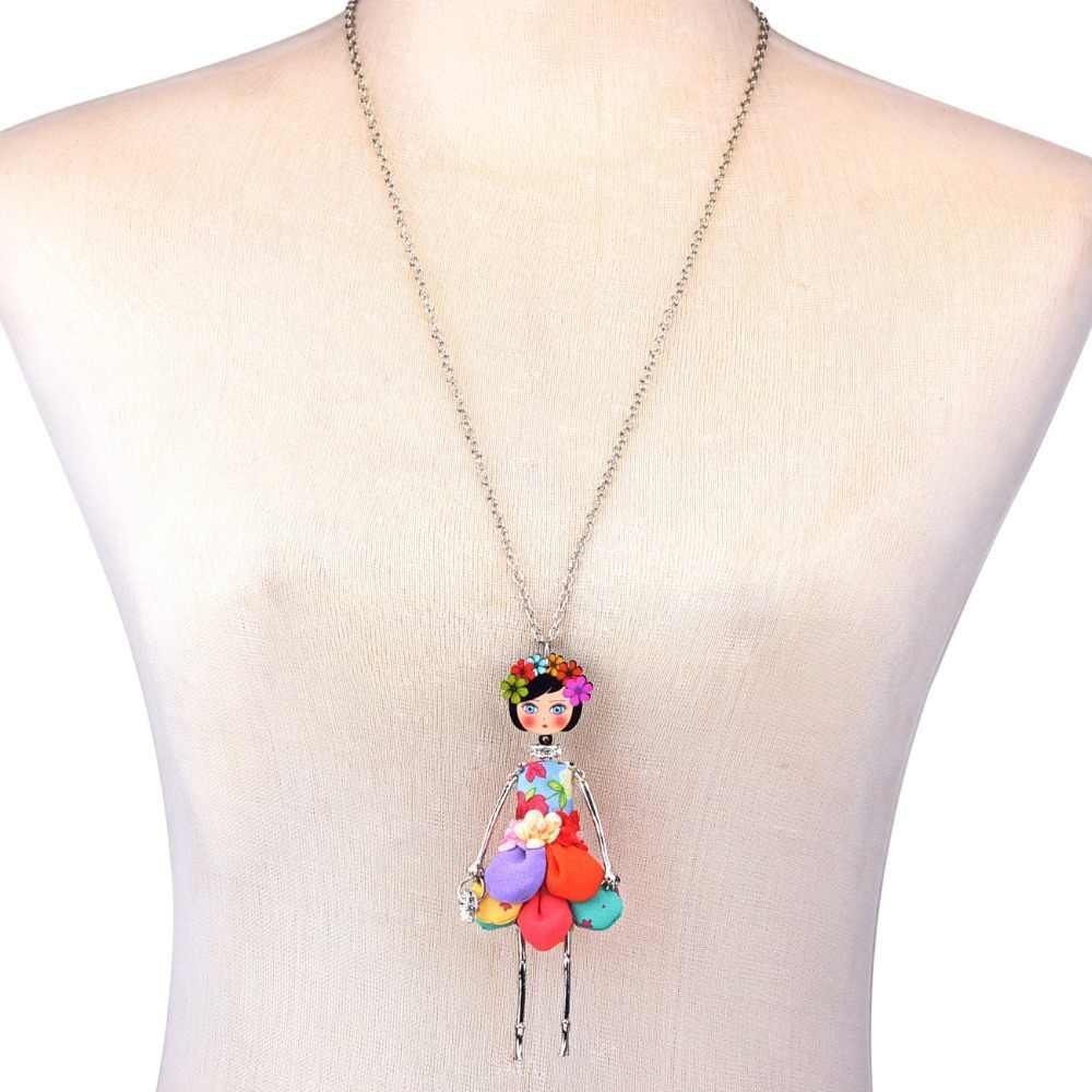WEVENI Original Stoff Kleid Mädchen Puppe Halskette Lange Legierung Anhänger Kette Kragen Hot Trendy Großhandel Schmuck Für Frauen