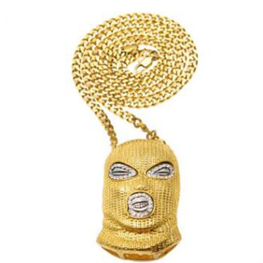 Aleación de alta calidad máscara colgante collar de cadena larga declaración hip hop rapper joyería 3 color