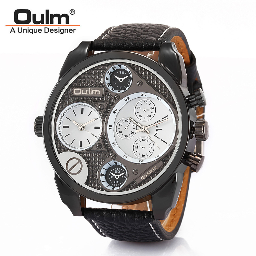 2017 OULM Brand Multi-Function Dual Movt Quartz Wrist Watch With 25mm Width Leather Watchband for Male Clock 5 Decorate Plate oulm men s quartz military wrist watch with dual movt compass