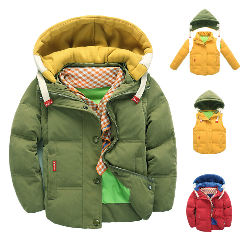 Winter Children Removable Down Coat Fashion Hooded Thick Solid Warm Jacket Coat Winter Clothes Outwear for