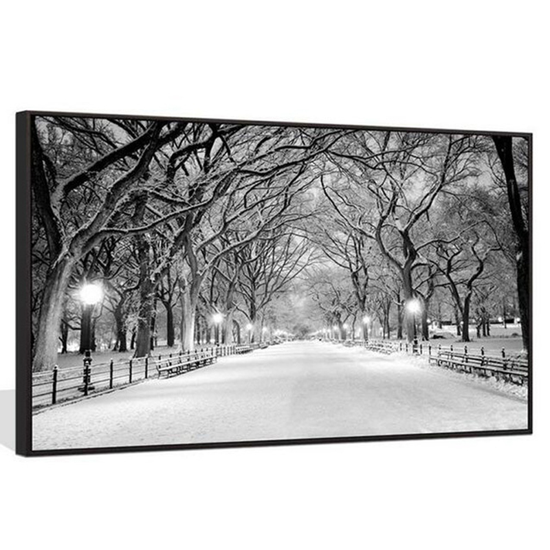 <font><b>Large</b></font> 5D <font><b>Diy</b></font> <font><b>Diamond</b></font> <font><b>Painting</b></font> New York City Central Park Snow Landscape Full square round Rhinestones Wedding decorationZP-934 image