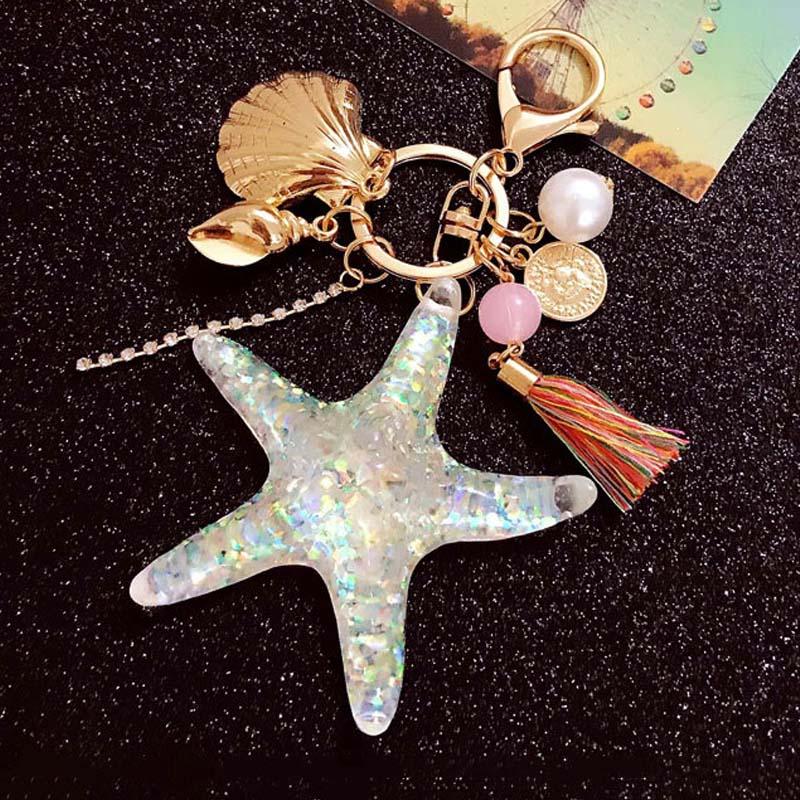 Fancy&Fantasy Hot New Cartoon Sea World Starfish Pearl Shell Keychain Key Chain KeyRing Crystal Pendant Keychain Women Gift