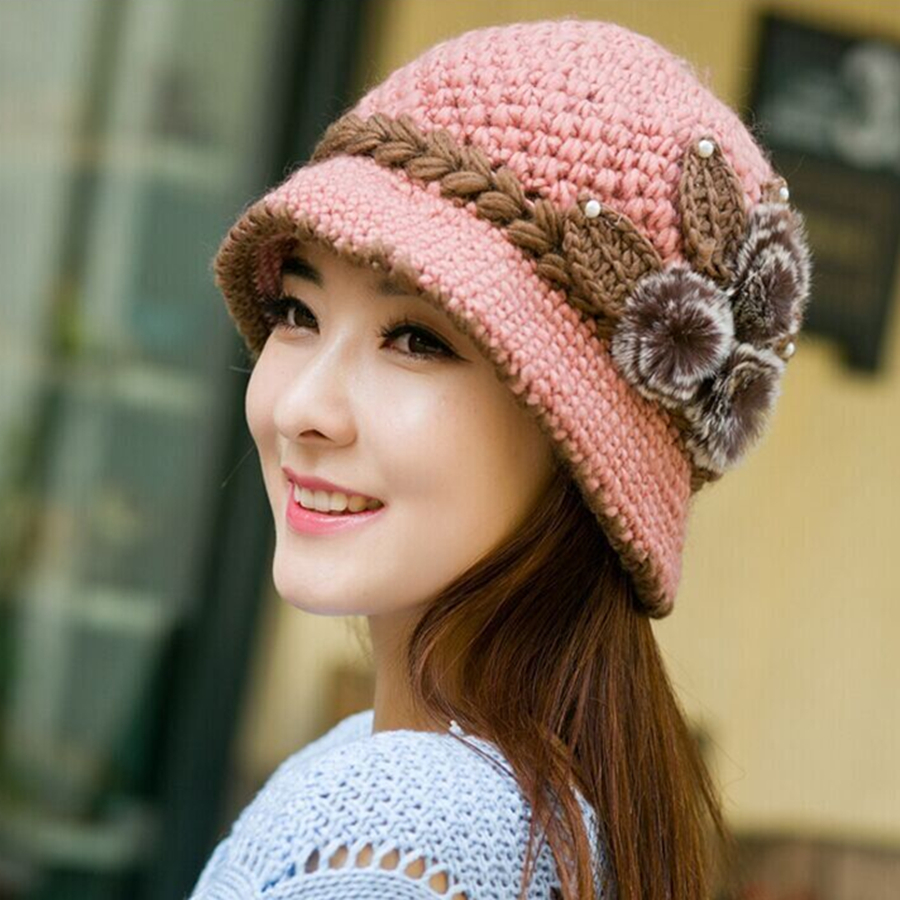 Brand New Warm Hat Winter Women Earmuffs Wool Cap Pretty Knitted Hats Female Autumn Winter  Fashion Beanies Hat Wholesale