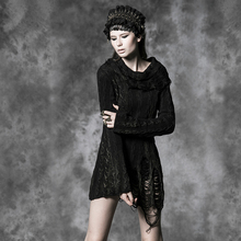 PUNK RAVE black full sleeve sleam punk sweater with broken hole and lapel M-026