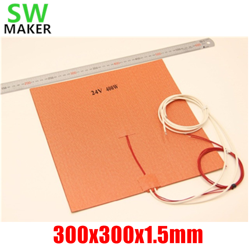 цена на SWMAKER 30X30CM12V/24V 400W Silicone Heater Huge size 300x300mm for Reprap 3D Printer Heated Bed Pad with 3M NTC 3950 Thermistor