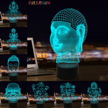 Buddha LED 3D Lamp Multicolor Ganesh Night Light Atmosphere Illusion Lamp for Bedrooms Decoration