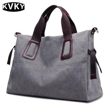 Canvas Handbags Casual Female Large Capacity Totes Hobos Shoulder Solid Bag Vintage Crossbody Bags Bolsas