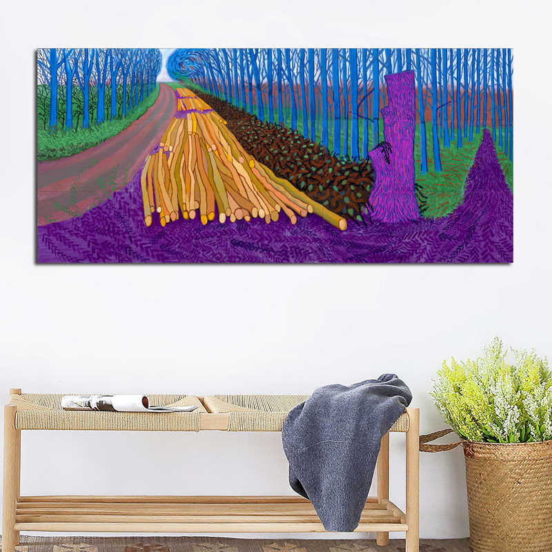 David Hockney Rural Landscape Painting Trees and Flowers Canvas Print Poster For Living Room Wall Decorative Painting