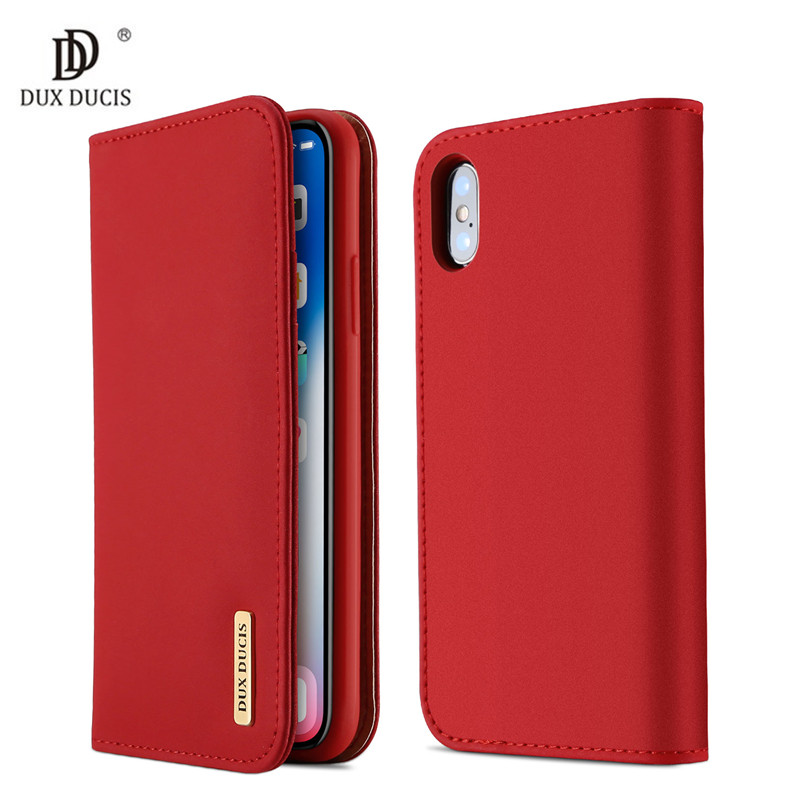 Galleria fotografica 100% Genuine Luxury Flip PU Leather Silicon Case for iPhone Xs Case Protective Phone Bags Cover For iPhone X Wallet Case Coque