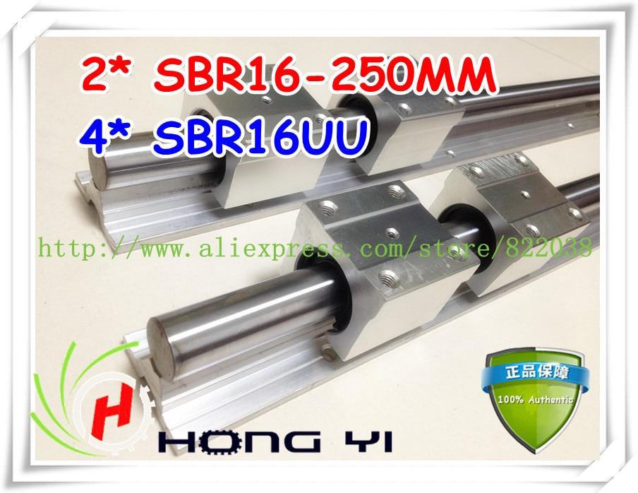 ФОТО Free shipping 2Pcs SBR16-250mm linear rails +4 pcs SBR16UU Linear Guides bearing blocks for CNC