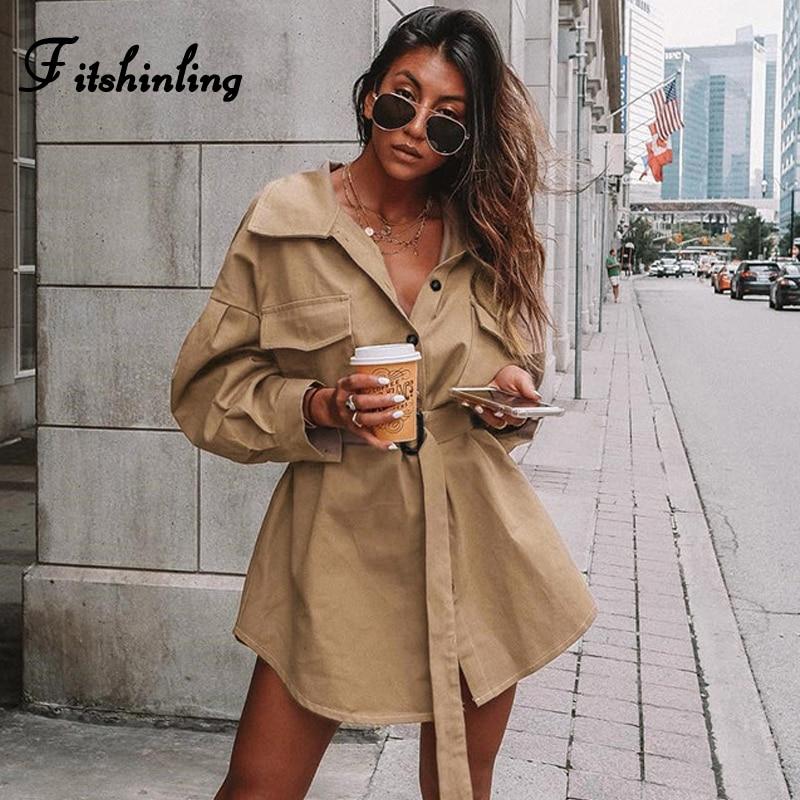 Fitshinling 2020 Otoño Invierno gabardina larga especialmente para mujer moda caqui Delgado cazadora bolsillo impermeable para mujer