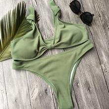 Army Green Bikini Swimsuit Bow Thong Swimwear Women White Bikini set 2017 Biquini Push up Maillot De Bain Brazilian Bathing Suit