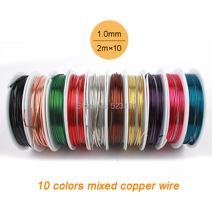 10 pcslot 18 ga jewelry copper wire solid 10 colors mixed wrapping 10 pcslot 18 ga jewelry copper wire solid 10 colors mixed wrapping weaving gauge total 20m diy craft wire thickness 10mm in jewelry findings greentooth Choice Image