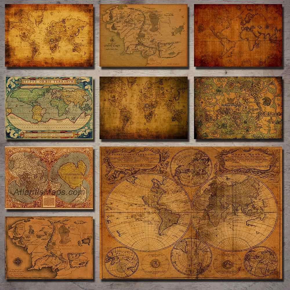 Lord of the Rings antique map navigation nostalgic retro kraft paper poster decorative painting wall stickers retro poster