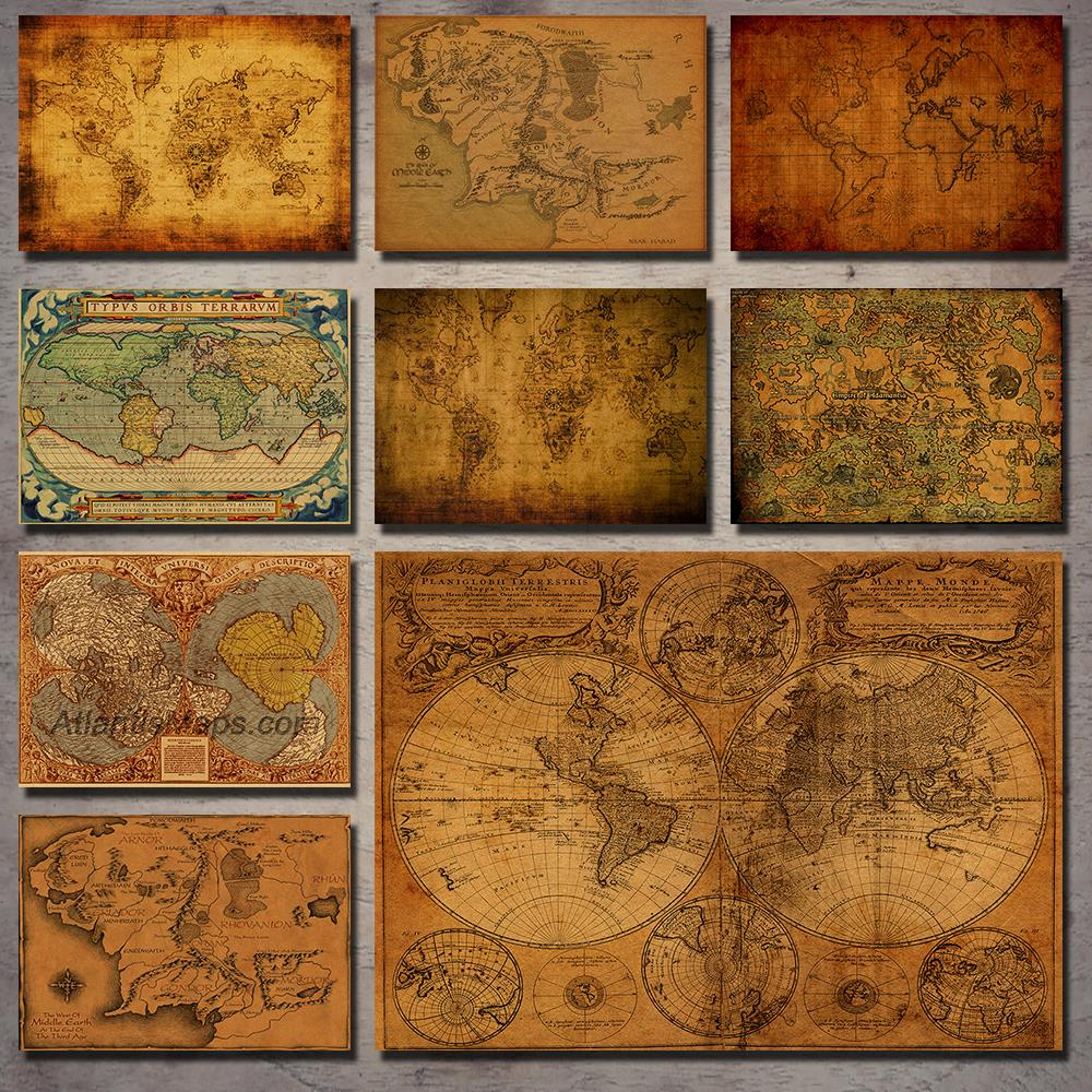 Lord of the Rings antique map navigation nostalgic retro kraft paper poster decorative painting wall stickers retro poster image