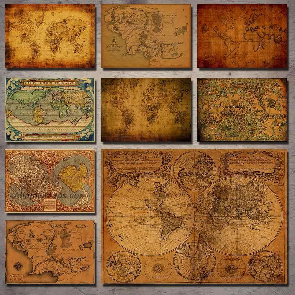 Senhor dos Anéis antigo mapa de navegação nostálgico retro kraft papel poster pintura decorativa adesivos de parede retro poster