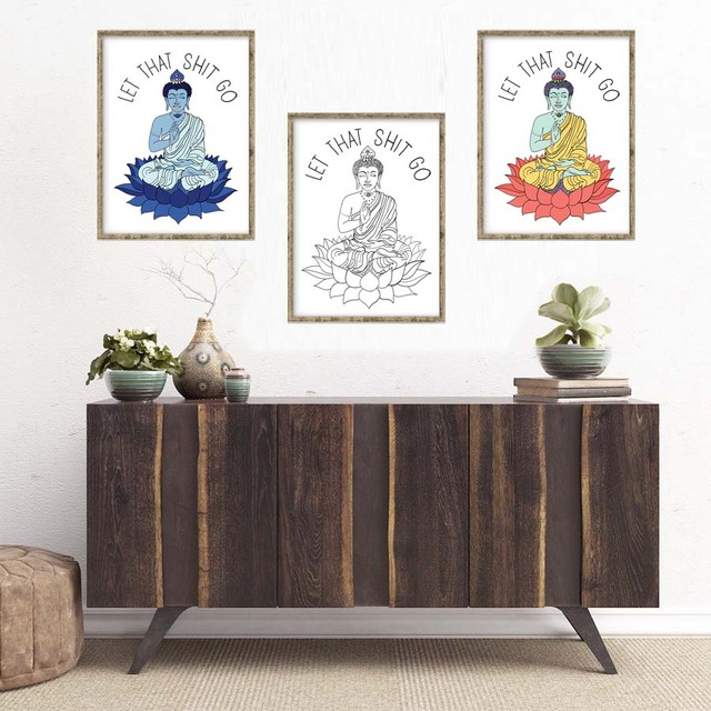Aliexpress Com Buy Yoga Buddha Meditating Abstract Canvas