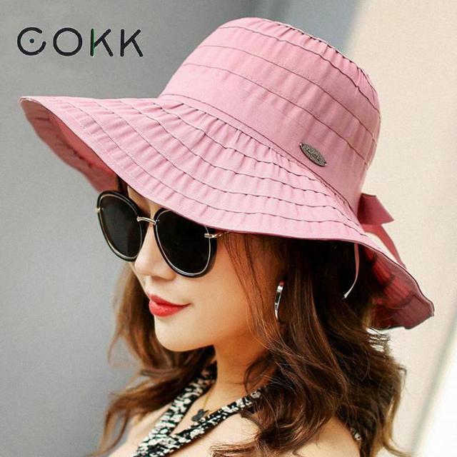 d589e1d92dd COKK Spring Summer Hat Women Cloth Bow Wide Brim Sun Hats For Women Panama Beach  Hat