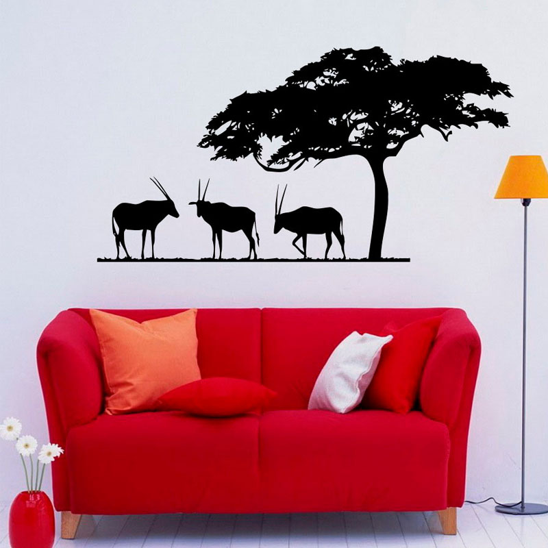 African Safari Antelopes Wall Decals Trees Vinyl Art Wall Decal Home Stickers Living Room Decor Waterproof Wall Stickers