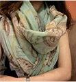 Горячая распродажа женщин длинные корейских шарф мыс расширил текстильной печать шарфы шифоновый шарф мода платок супер удобные wrap-b131