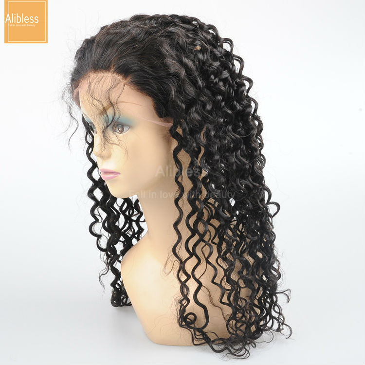 Glueless full lace Peruvian deep curly human hair wigs with baby hair,8-24