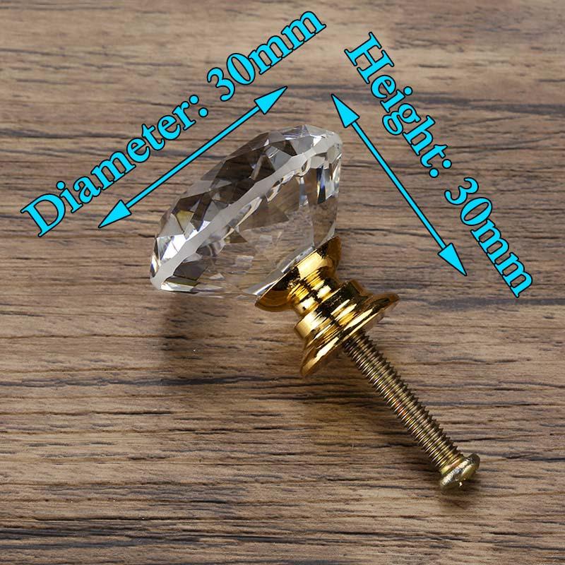 KAK 30 мм Алмазная форма дизайн хрустальные стеклянные ручки Шкаф Тянет ручки ящика кухонный шкаф ручки Мебельная ручка фурнитура - Цвет: Gold Base