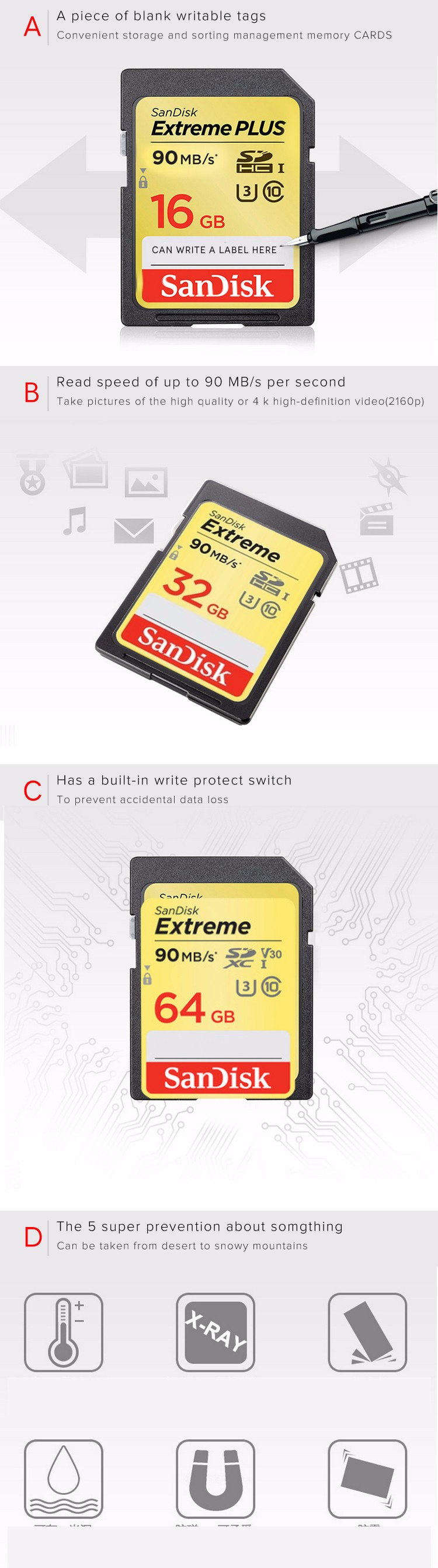 100 Original Sandisk Extreme Plus Sd Card Sdhc Sdxc U3 Memory Cards Team Xtreem Micro 64gb 90mb S About Real Capacity