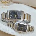 Relógios de pulso para Senhoras Vestido Relógio de Ouro de Aço Inoxidável Retângulo de Quartzo Dos Homens Das Mulheres Cintas De Prata Relogio masculino 8809