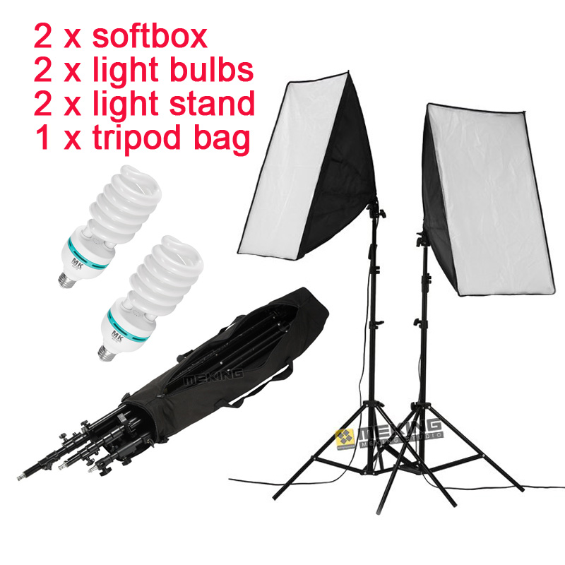 Photo Studio 2 light bulbs Softbox Kit Photographic Lighting Kit Camera & Photo Accessories 2 light stand 2 softbox with bag us new laptop keyboard for msi ge60 ge70 gt60 gt70 gx60 gx70 gt780 backlit