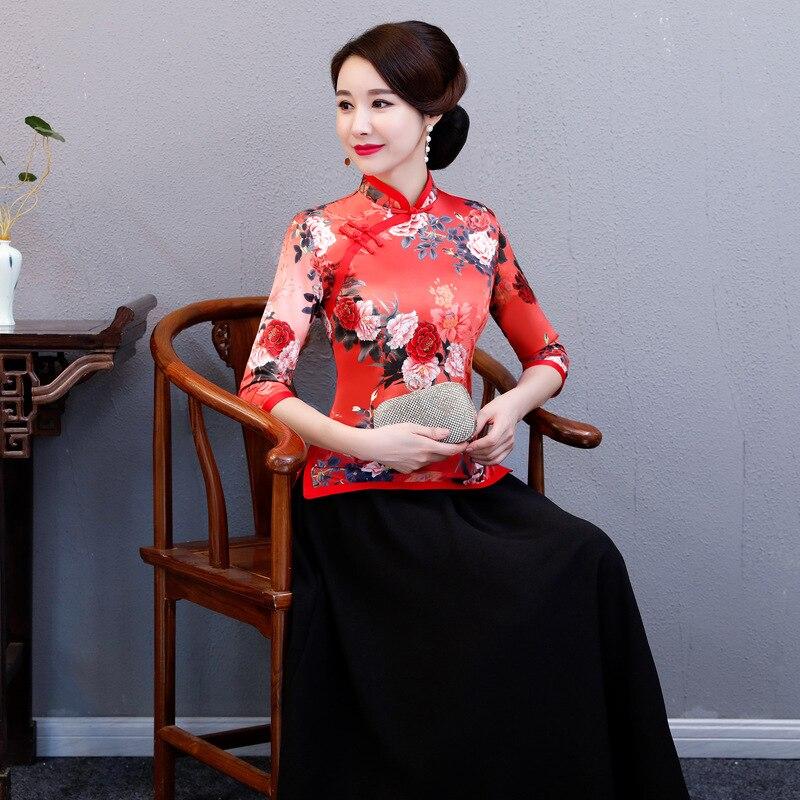 apricot Blusa Stage Tradicional Chino Flor verde Ropa Rojo Camiseta Boda Impresión Elegante Azul rojo De Mujeres La Noche Clásico Cielo Casual Show Sgxgd1