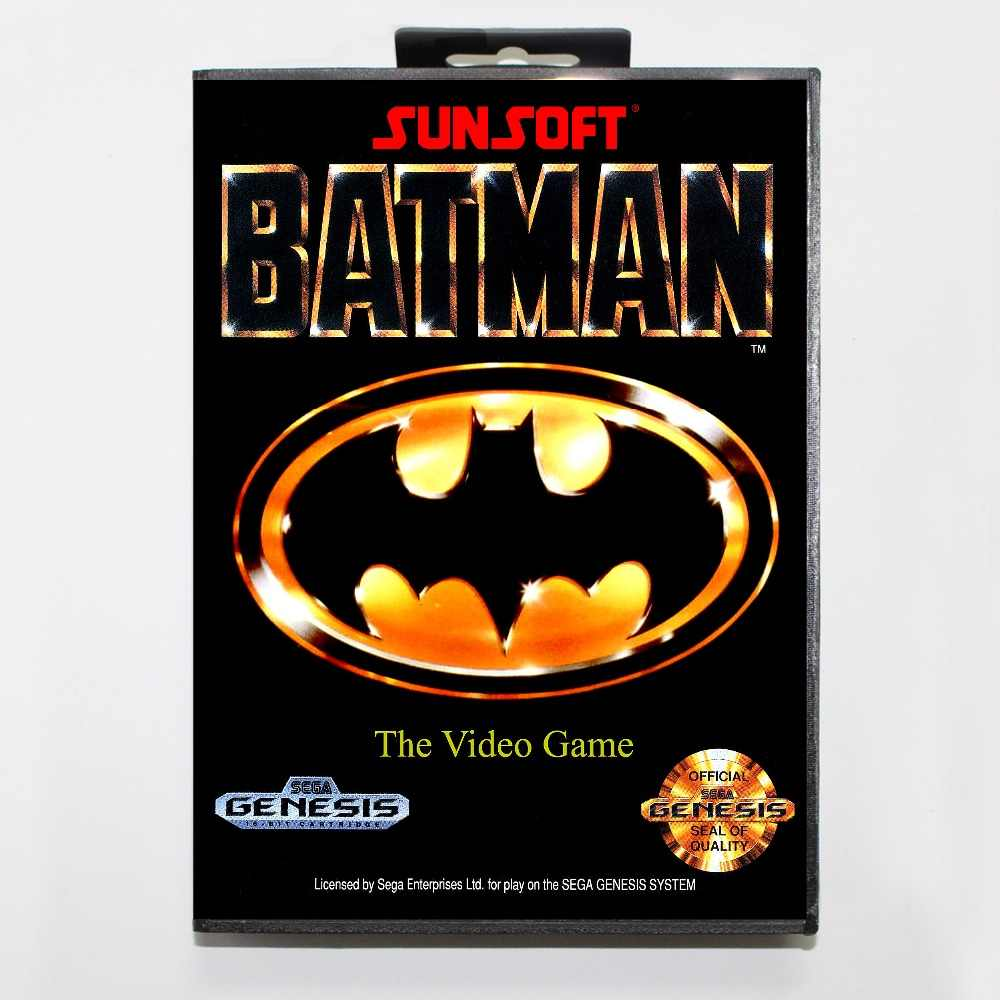 Batman 16 bit MD card with Retail box for Sega MegaDrive Video Game console system