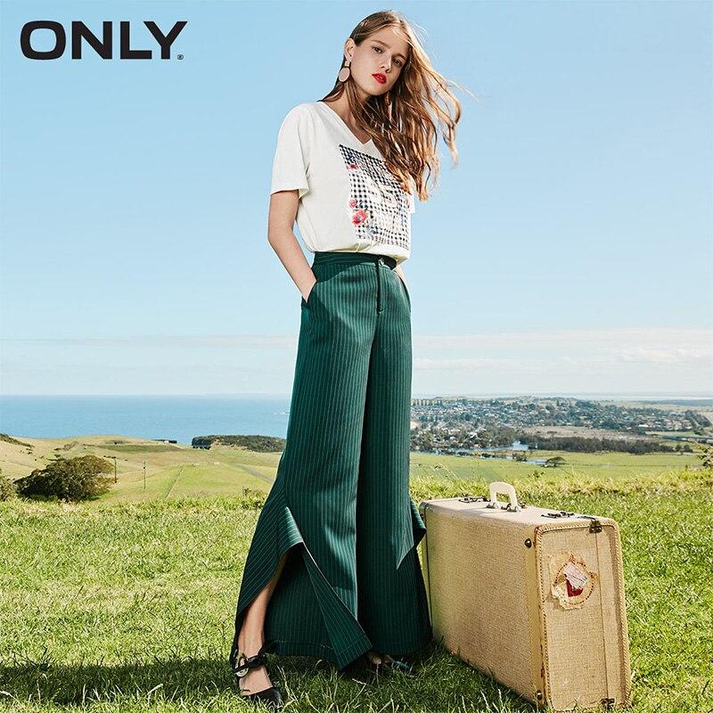 Only Women's Spring & Summer 2019 Striped Split Wide-Leg Casual Pants |118114513