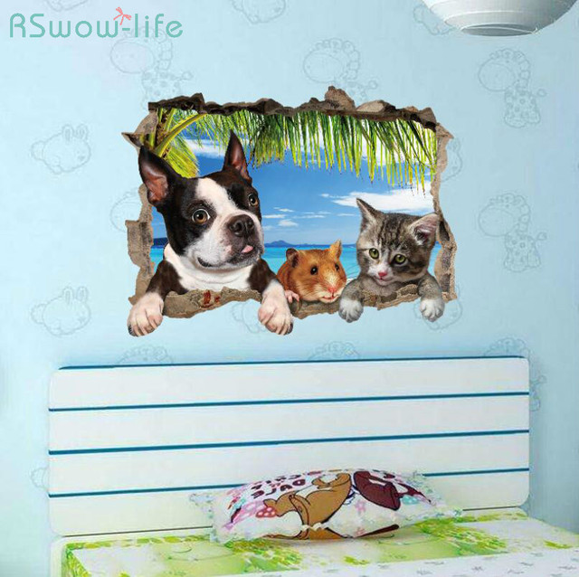 Home Decoration Stickers Creative 3D Stereo Cat Dog Hamster Cute Simulation Bedroom Living Room Wall Sticker For Home Decor