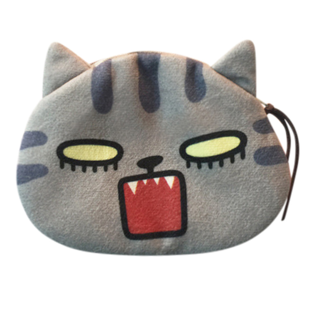 Women Cute Coin Purse Print Cat Face Girl PlushChange Purse Bag Wallet Versatile Coin Bags Drop Shipping Girls Bags A8